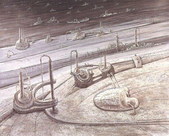 Absorción- Tiempo de máquinas (imaginación)Óleo sobre lienzo. Tamaño 162x195cm