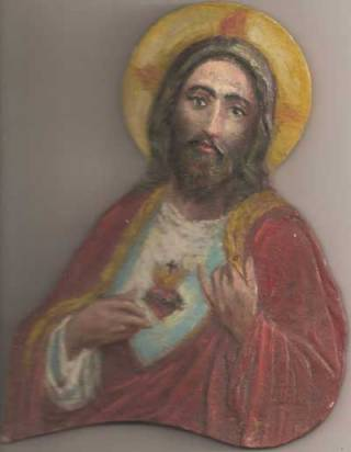 Corazón de Jesús. (Pintado con 15 años)Óleo sobre relieve de madera.