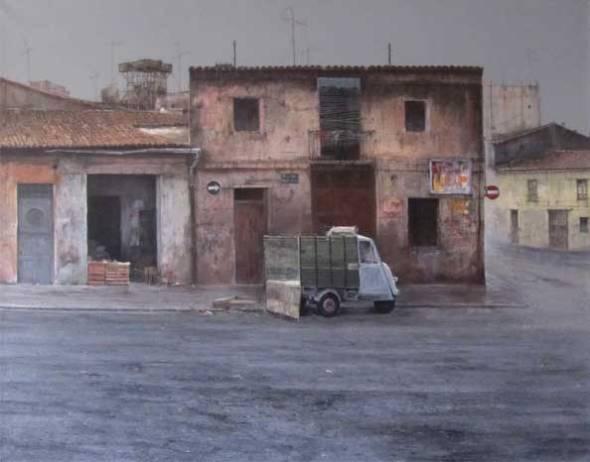 Motocarro. Año 1979-80Oléo sobre lienzo. Tamaño 130x160 cm.