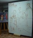 Repasando con pincel el dibujo