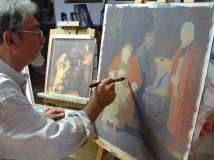 Mirbelenguer pintando el boceto