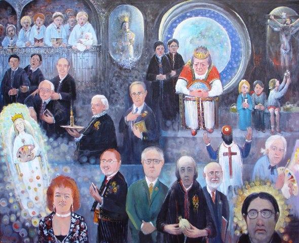 Celebración de la muerte de nuestra pintura (donde más de uno se podrá reconocer) Acrílico sobre lienzo. Tamaño 130x162cm. Año 2006